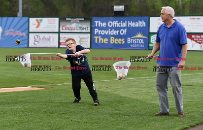 050117  Wesley Bunnell   Staff  New Britain Bees vs the Somerset Patriots on Monday evening. Fans play in the Bee Keeper game between innings.