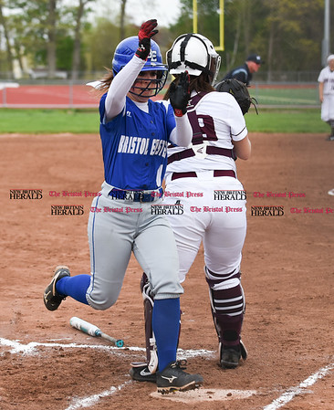 050117 Wesley Bunnell   Staff Bristol Eastern softball defeated Bristol Central on Monday afternoon. Jill Maghini (6) scores a run.