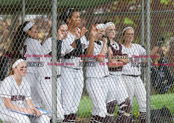 050117 Wesley Bunnell   Staff Bristol Eastern softball defeated Bristol Central on Monday afternoon. The Bristol Central bench.