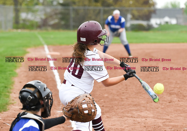 050117 Wesley Bunnell   Staff Bristol Eastern softball defeated Bristol Central on Monday afternoon. Jenna Ptak (20) makes contact.