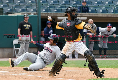 050317  Wesley Bunnell | Staff  New Britain Bees vs Somerset Patriots in a Wednesday morning game attended by areas school children. James Skelton (3) receives the throw home and turns to throw to second base.