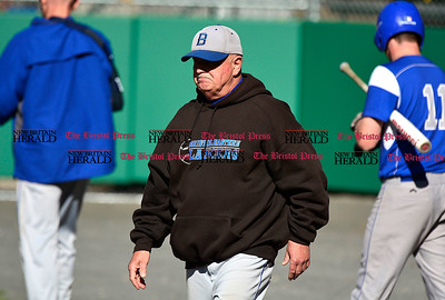 5/3/2017 Mike Orazzi   Staff Bristol Eastern's Mike Giovinazzo during Wednesday's baseball game with New Britain at Muzzy Field.