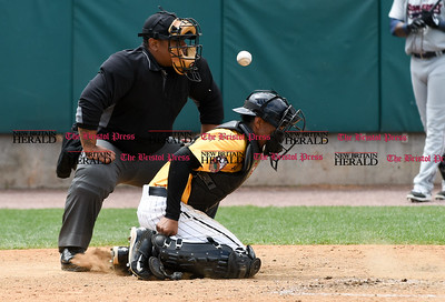 050317  Wesley Bunnell | Staff  New Britain Bees vs Somerset Patriots in a Wednesday morning game attended by areas school children. James Skelton (3) attempts to block a pitch bounced in the dirt .