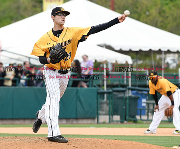 050317  Wesley Bunnell   Staff  New Britain Bees vs Somerset Patriots in a Wednesday morning game attended by areas school children. Brandon Fry (20) with a pick off attempt at first base.