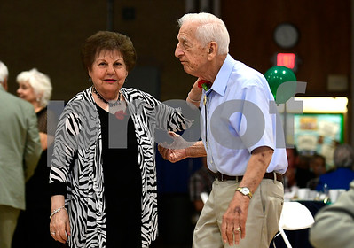 5/4/2017 Mike Orazzi | Staff Beatrice Lapointe and Ron Daddabbo during the senior prom at the Bristol Senior Center Thursday.