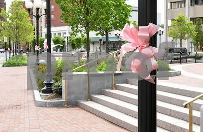 050817  Wesley Bunnell | Staff  Pink ribbons and signs are popping up around New Britain for the CT Breast Initiative 2017 Race In The Park which is taking place Saturday May 13. Central Park is shown.