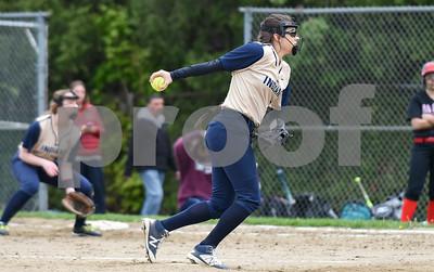 051017  Wesley Bunnell | Staff  Newington High School softball vs E.O. Smith on Wednesday afternoon.  Pitcher Katerina Legace (2).