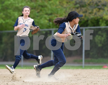 051017  Wesley Bunnell | Staff  Newington High School softball vs E.O. Smith on Wednesday afternoon.  Cyan Gonzalez (6).