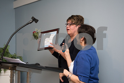 051017  Wesley Bunnell | Staff  Bristol Hospital held their nursing award ceremony on Wednesday evening at the Chippanee Golf Club. Paula Steele, L, accepts her Excellence in Caring & Exemplary Practice Award.