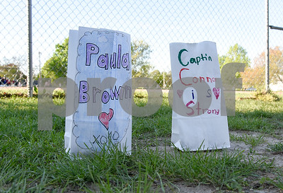 051117  Wesley Bunnell | Staff  A Relay for Life was held on Thursday at South Side School to benefit 10 year old Connor Albert, aka Captain Connor, who was diagnosed with a form of bone cancer in April 2016. Paper bags with well wishes lined the course.