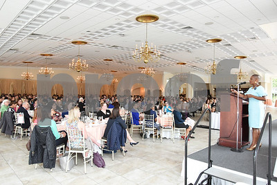 051117  Wesley Bunnell | Staff  The New Britain YWCA held their 17th Biennial Women in Leadership Luncheon at the Aqua Turf on Thursday afternoon. Author, founder and CEO of Workplace Success Group LLC Karen Hinds delivers the keynote speech to the crowd.