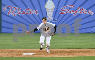 051117  Wesley Bunnell | Staff  New Britain Bees won in a 9th inning walk off home run by Conor Bierfeldt (28) on Thursday evening 4-3 over the Long Island Ducks. Jake McGuiggan (2) is shown trying to keep a runner close to the base.
