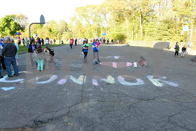 051117  Wesley Bunnell | Staff  A Relay for Life was held on Thursday at South Side School to benefit 10 year old Connor Albert, aka Captain Connor, who was diagnosed with a form of bone cancer in April 2016.  Chalk spelling out support for Connor near the playground.