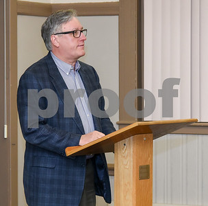 051517  Wesley Bunnell | Staff  The Bristol Democratic Town Committee met at the Historical Society on Monday night to announce candidates in the November elections. Democratic nominee for Alderman for the 1st district Greg Hahn gives his speech.