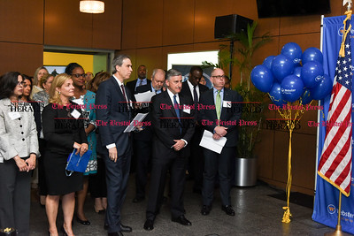 052217  Wesley Bunnell | Staff  Webster Bank held a ribbon cutting ceremony at its newest corporate office at 200 Executive Blvd in Southington along with town officials and members of the chamber of commerce.  Emcee for the event Tim Bergstrom, right.