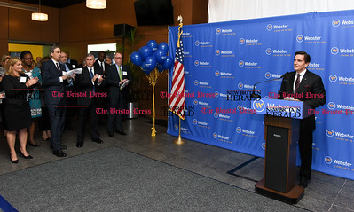 052217  Wesley Bunnell | Staff  Webster Bank held a ribbon cutting ceremony at its newest corporate office at 200 Executive Blvd in Southington along with town officials and members of the chamber of commerce. CEO Jim Smith speaks in front of other bank officials.
