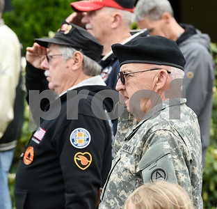 052917  Wesley Bunnell | Staff  Plainville held their annual Memorial Day Parade on Monday morning followed by a memorial unveiling dedicated to Gold Star Families at Veterans Memorial Park. Veteran's salute during the ceremony.