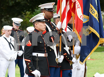 052917  Wesley Bunnell | Staff  Plainville held their annual Memorial Day Parade on Monday morning followed by a memorial unveiling dedicated to Gold Star Families at Veterans Memorial Park. Marine & Navy Honor Guard's during the ceremony.