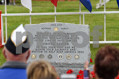 052917  Wesley Bunnell | Staff  Plainville held their annual Memorial Day Parade on Monday morning followed by a memorial unveiling dedicated to Gold Star Families at Veterans Memorial Park. The new monument just after unveiling.