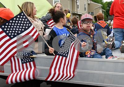 052917  Wesley Bunnell | Staff  Plainville held their annual Memorial Day Parade on Monday morning followed by a memorial unveiling dedicated to Gold Star Families at Veterans Memorial Park. Cub Scout Pack 49 rides by on their parade float.