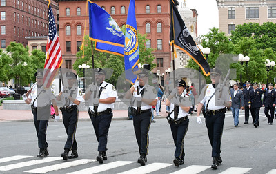 053017  Wesley Bunnell | Staff  The City of New Britain held their annual Memorial Day Parade on Tuesday evening. The New Britain Police Department's Honor Guard led by Lt. John Rodriguez , left.