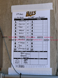 051617  Wesley Bunnell | Staff  The New Britain Bees vs the Bridgeport Bluefish in the 2nd game of a double header played early afternoon on Tuesday. The Bees line up posted in the dugout.