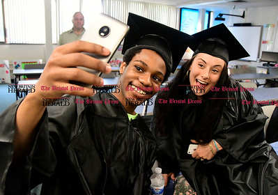 5/18/2017 Mike Orazzi | Staff Graduates Irving Mote and Dawn Pearson before Thursday night's Bristol Adult Education Graduation ceremony.