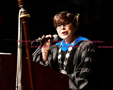 5/20/2017 Mike Orazzi   Staff CCSU president Zulma R. Toro at the the XL Center in Hartford for CCSU's graduation Saturday morning.