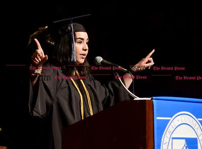 5/20/2017 Mike Orazzi   Staff Class president Erica Ostrawski at the the XL Center in Hartford for CCSU's graduation Saturday morning.