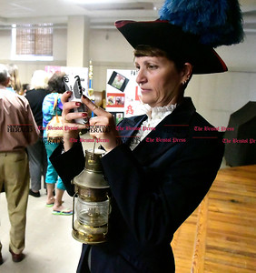 5/2/2017 Mike Orazzi | Staff St. Joseph School 5th teacher  Kathryn Hinrichs during the school's annual wax museum Tuesday afternoon.