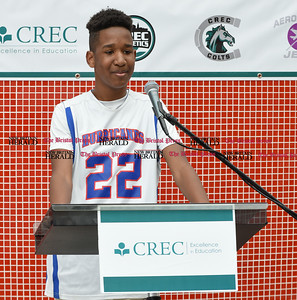 052217  Wesley Bunnell | Staff  Energy company Dynegy visited CREC Academy of Science & Innovation to present a donation for $100,000 for CREC athletics. Two Rivers eight grade student Jordan Pinnix talks about how sports helps him in other areas of school and life.
