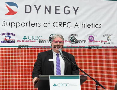 052217  Wesley Bunnell | Staff  Energy company Dynegy visited CREC Academy of Science & Innovation to present a donation for $100,000 for CREC athletics. CREC Assistant Superintendent Timothy Sullivan Jr.