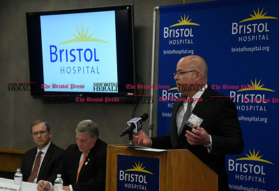 5/25/2017 Mike Orazzi | Staff Bristol Hospital President and CEO Kurt Barwis during the unveiling of the new Ambulatory Care Center to be built on the corner of Riverside Avenue and Main Street in downtown Bristol.