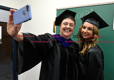 5/25/2017 Mike Orazzi | Staff Tunxis Community College graduate Dr. Colleen Richard and her student Amber Lewis at the Forty-sixth Commencement Thursday evening in Farmington.