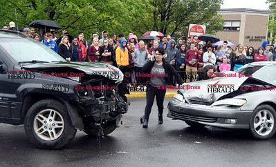 5/26/2017 Mike Orazzi | Staff A mock crash staged at Bristol Central High School Friday morning.