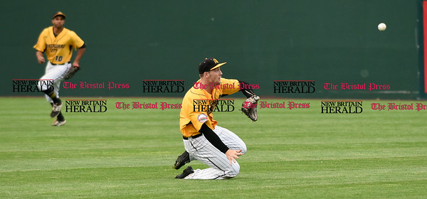 052617  Wesley Bunnell | Staff  The New Britain Bees were defeated by the Southern Maryland Blue Crabs 3-1 on Friday evening. Conor Bierfeldt (28) tracks a broken bat fly ball to left field.