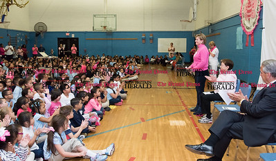 052617  Wesley Bunnell | Staff  Smalley Academy presented the CT Breast Health Initiative with a check for over $2,000 through various fund raising activities.  President of the CT Breast Health Initiative Joyce Bray stands during the ceremony.