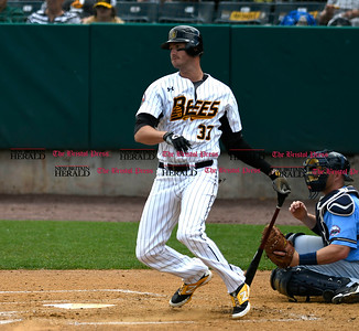 5/27/2017 Mike Orazzi | Staff New Britain Bees' Jon Griffin (37) during Saturday's game with the Southern Maryland Blue Crabs.