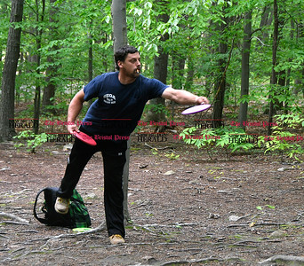 5/27/2017 Mike Orazzi | Staff Mike Cronin while playing a disk golf fundraiser for Kevin Adorno in Page Park Saturday morning.