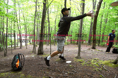 5/27/2017 Mike Orazzi | Staff Mike Berggren while playing a disk golf fundraiser for Kevin Adorno in Page Park Saturday morning.