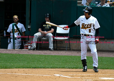 5/27/2017 Mike Orazzi | Staff New Britain Bees' Yusuke Kajimoto (8) during Saturday's game with the Southern Maryland Blue Crabs.