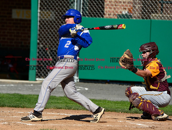 5/3/2017 Mike Orazzi | Staff Bristol Eastern's Shawn Savoir (2) during Wednesday's baseball game with New Britain at Muzzy Field.