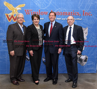 050517  Wesley Bunnell | Staff  Senator Richard Blumenthal visited Winslow Automatics Incorporated on Friday afternoon to for a discussion on small businesses. SBA Senior Area Manager Frank Alvarado, L, Vice President Wendi P. Scata, Senator Richard Blumenthal and President J. George Podlasek.