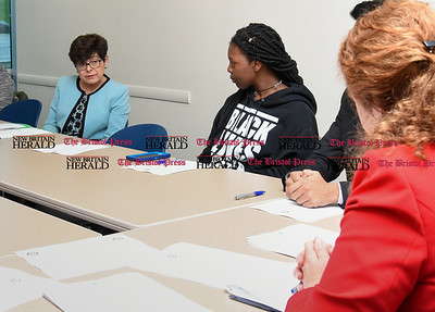 050517  Wesley Bunnell | Staff  Congresswoman Elizabeth Esty spoke with CCSU student leaders on an Immigration Roundtable on Friday afternoon. CCSU President Dr. Zulma Toro sits next to student Kayla Samuel as she addresses Congresswoman Esty.