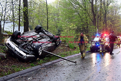 5/5/2017 Mike Orazzi | Staff The scene of a single vehicle rollover near 400 South Eagle Street in Plymouth Friday afternoon. The operator fled the scene and was quickly located on Greystone Road by Plymouth Police.