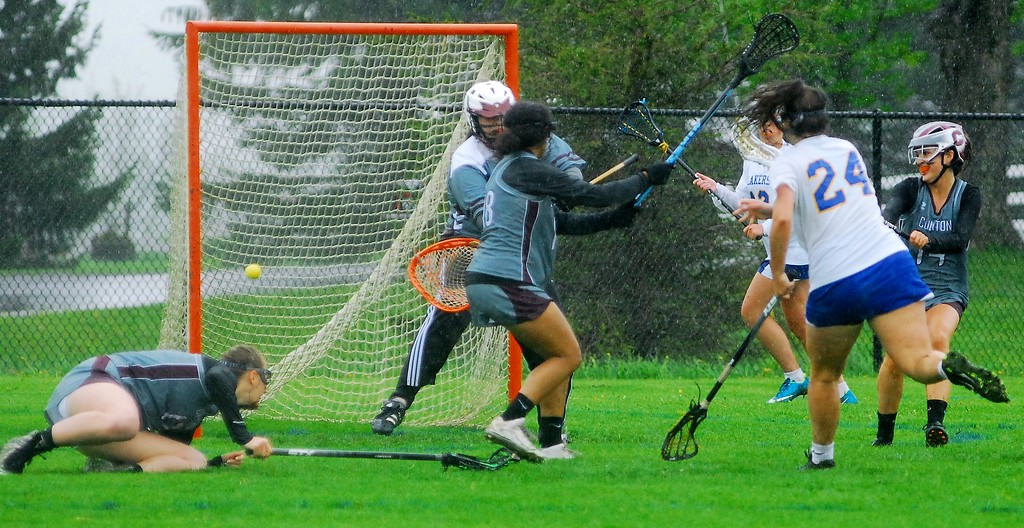 . Cazenovia senior attacker Chloe Willard scores a goal against Clinton in their playoff loss Saturday, May 19 at Cazenovia.