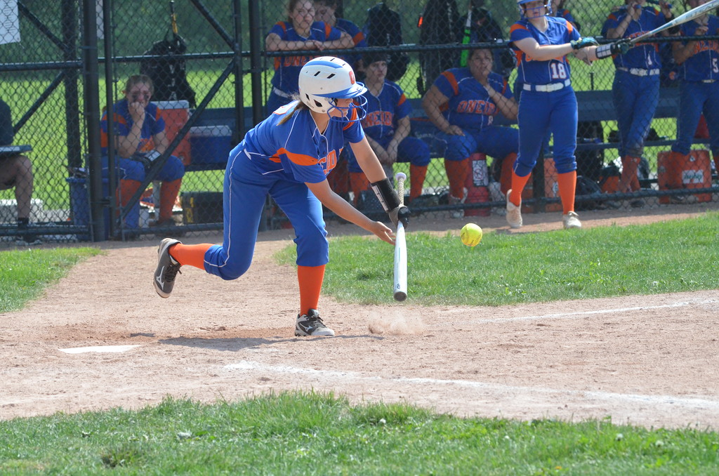 . Oneida outfielder Emily Marshall lays down a bunt during the Section III Class B championship against Christian Brothers Academy on Monday, May 25.