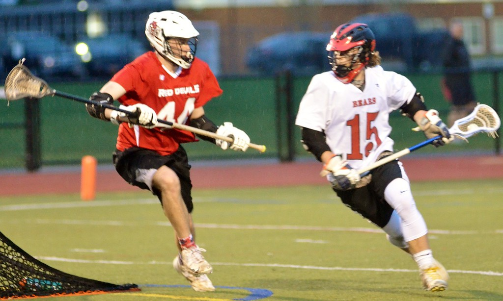 . Andrew Aurigema - Oneida Daily Dispatch Chittenango freshman attack Caleb Barnard looks to get past Vernon-Verona-Sherrill senior defender Jordan Schaefer Thursday, May 3, 2018.