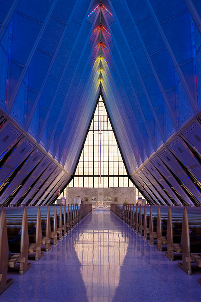 Interior of The Cadet Chapel looking to the front.