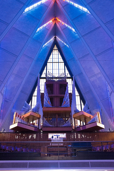 Interior of The Cadet Chapel looking to the organ located above the rear entrance.